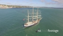 Tall Ship - Sails down - Port City background 27390