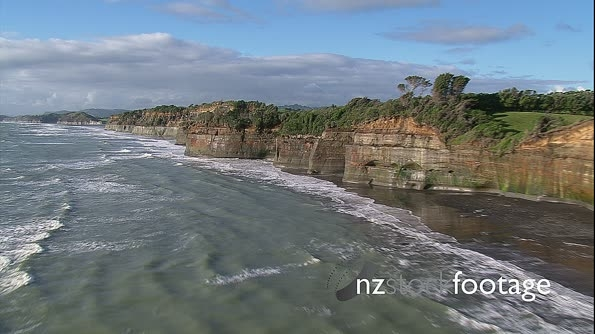 NZ coastline cliffs and farmland aerial 1  27405