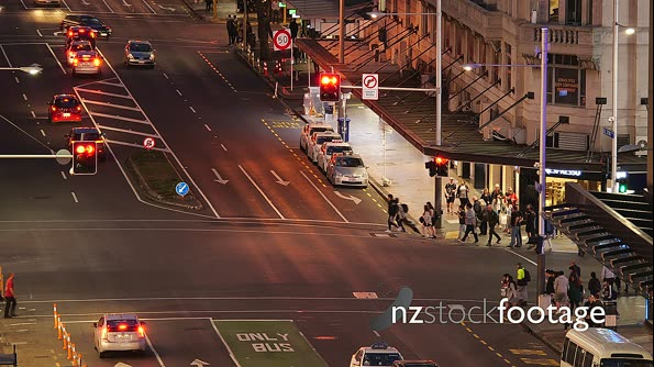 Auckland Night Downtown Pedestrian Crossing 28167