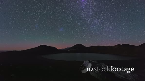Star trails over mountain scene in Tongariro National Park, New Zealand 28267