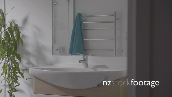 Empty Bathroom Pan to Reveal Bathtub with White Cup & Toothbrush  29313
