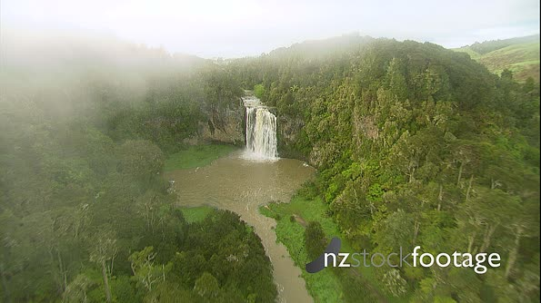 Waterfall Bush Setting New Zealand HD Aerial 1 4289