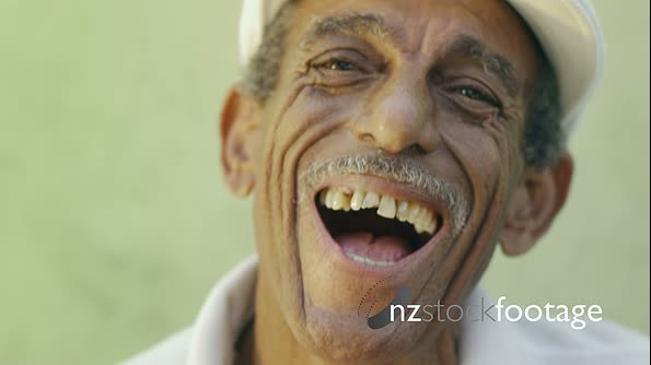 Portrait Of Old Hispanic Man With Hat Laughing Smiling 5134