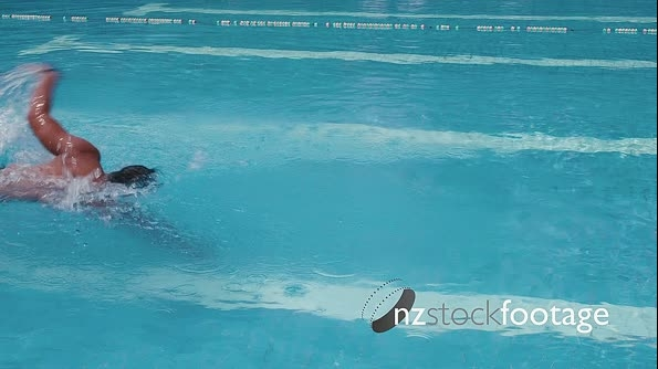 Asian Man Swimming In Pool 5164