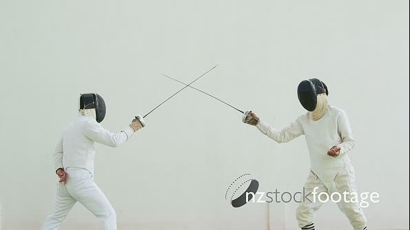 Athletes Fighting In Fencing Duel 5195