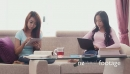 Female College Students Studying With iPad And Laptop Pc On Sofa 5206