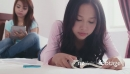 Asian Female Teenagers Using Ipad, Reading Book On Bed At Home 5213