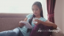Asian Female Teen Reading Book And Drinking Water 5217