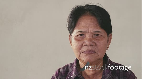 Portrait, Serious Old Asian Woman Showing Feelings And Emotions 5267