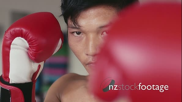 Portrait Of Young Asian Man Looking Camera In Boxing Gym 5287
