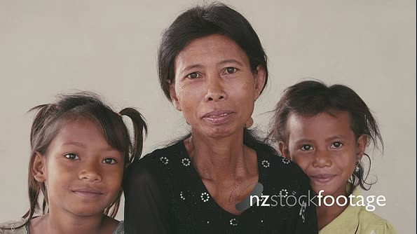 Portrait Of Real Asian Family With Happy Cambodian Mom And Child 5305