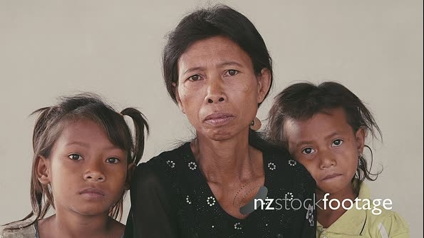 Portrait Of Real Asian Family, Sad Mother And Daughters 5306