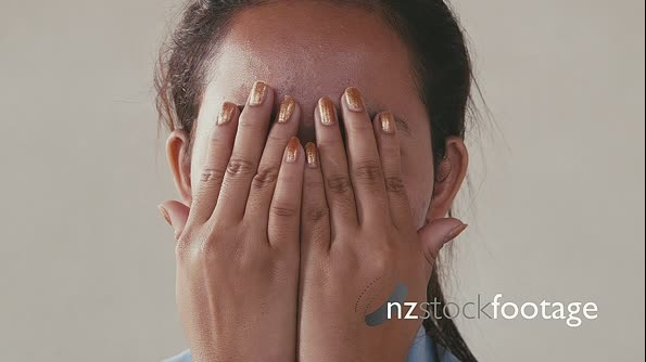 Portrait Of Asian People With Sad Girl Covering Face With Hands 5319
