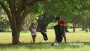 School children cleaning park, young people, trash, park 5789