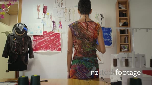 Young Woman At Work As Fashion Designer in Studio 6217