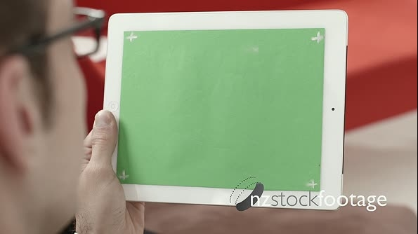 Man Using Digital Tablet Pc Ipad With Green Screen 6295
