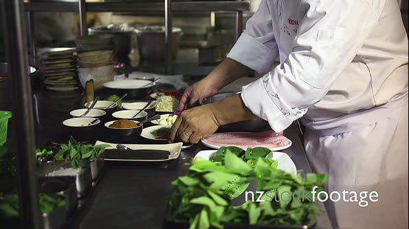 Professional Asian Chef Working In Restaurant Kitchen 6379