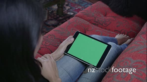 Woman Touching Ipad Green Screen Computer Monitor Internet Web 8684