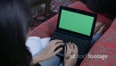 Woman Typing On Laptop Pc Computer With Green Screen Monitor 8685